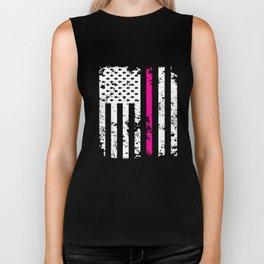 Silver Pink Line American Flag Breast Cancer T-Shirts Biker Tank