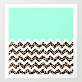 leopard chevron Art Print