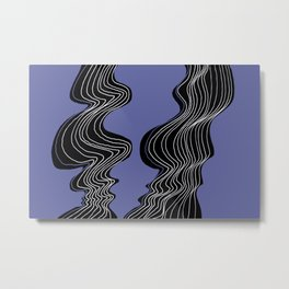 Parallel Lines No.: 02. in Purple - White Lines Metal Print