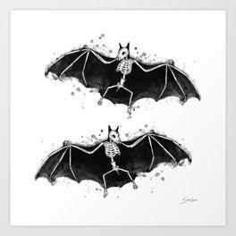 Skeletal Bat Art Print