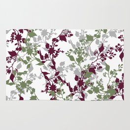 Leaves and Branches in Sage Green and Wine Red Rug