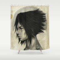 sasuke Shower Curtains featuring Weight of the World by thegreencarousel