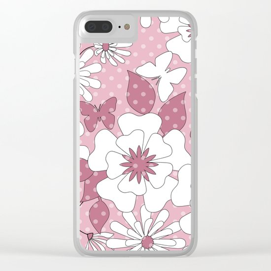 Delicate pink floral pattern. Clear iPhone Case