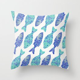 Indonesian Fish Duo – Navy & Turquoise Palette Throw Pillow