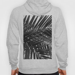 Tropical Palm Leaves - Black and White Nature Photography Hoody