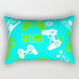 Video Games green on light blue Rectangular Pillow