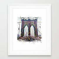 brooklyn bridge Framed Art Prints featuring brooklyn bridge by Moonlight Creations