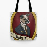 charlie Tote Bags featuring Charlie by Kyle Hurley