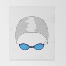 Swim Cap and Goggles Throw Blanket
