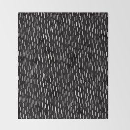 Dark Winter Night- White Strokes Lines on Black - Mix & Match with Simplicity of life Throw Blanket