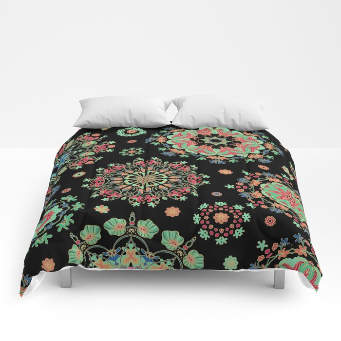Colorful snowfall Comforters