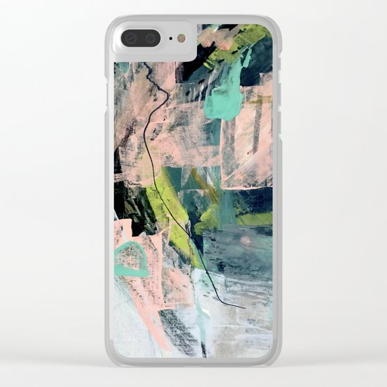 Connect [4] : a vibrant acrylic abstract in neon green, blues, pinks, & hints of orange Clear iPhone Case