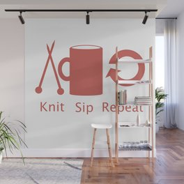 Knitting and Coffee Wall Mural