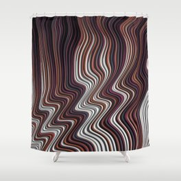 COIF abstract gradient waves of brown and white Shower Curtain