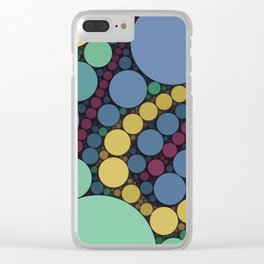 MARBLES - retro vintage colours indigo spearmint green dots abstract pattern Clear iPhone Case