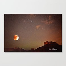 Sedona Blood Moon Eclipse with Shooting Star Canvas Print