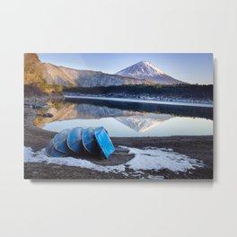 Blue Boats at Mount Fuji Metal Print