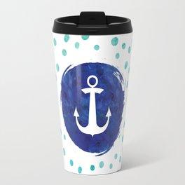 Watercolor Ship's Anchor Travel Mug