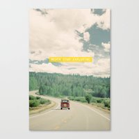 road Canvas Prints featuring NEVER STOP EXPLORING - vintage volkswagen van by Leslee Mitchell