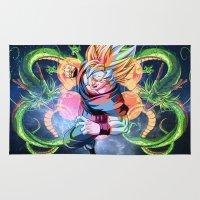 dbz Area & Throw Rugs featuring DBZ - Goku by Mr. Stonebanks
