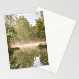 Morning mist over the summer lake Stationery Cards