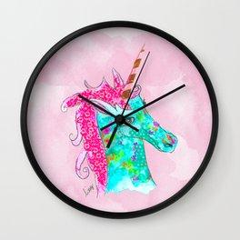 Unicorn on Pink watercolour Wall Clock