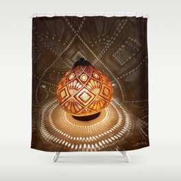 Batik pattern of the sun and rice field Shower Curtain