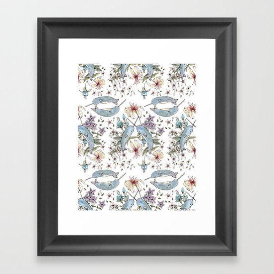 Narwhal pattern Framed Art Print