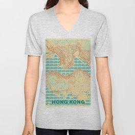 Hong Kong Map Retro Unisex V-Neck