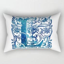 Letter L Antique Floral Letterpress Rectangular Pillow