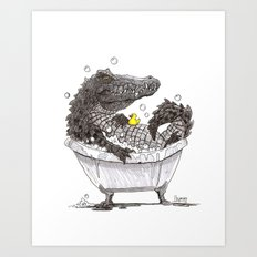Bubble Bath (Pen & Ink) Art Print