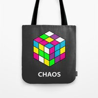 chaos Tote Bags featuring Chaos by Dizzy Moments