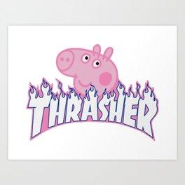 Peppa Pig Skateboard Art Print