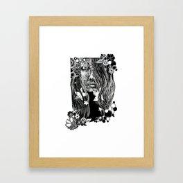 Black and White Flower Girl Line Cut Framed Art Print