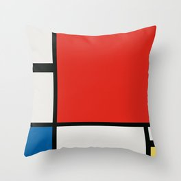 Composition II in Red, Blue, and Yellow - Digital Version Throw Pillow