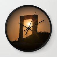 greece Wall Clocks featuring Greece by Joana Kruse