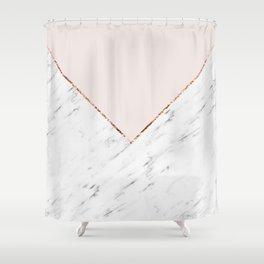Peony blush geometric marble Shower Curtain