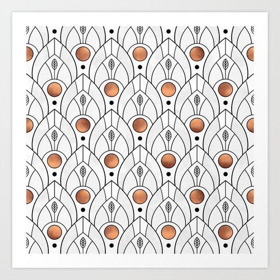 Art Deco Leaves / Version 2 Art Print