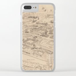 Vintage Pictorial Map of Oxford England (1850) Clear iPhone Case