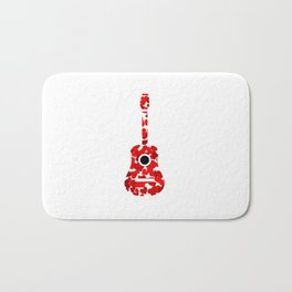 Guitar with red hearts- musical valentine gifts Bath Mat