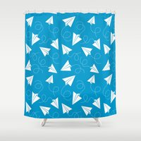 plane Shower Curtains featuring Paper Plane by Patrick Zedouard c0y0te7