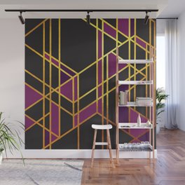 Art Deco Off Line In Purple No. 2 Wall Mural