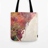 barcelona Tote Bags featuring Barcelona by MapMapMaps.Watercolors