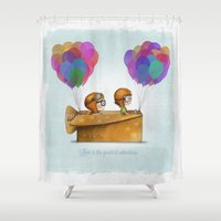 cartoons Shower Curtains featuring UP Pixar — Love is the greatest adventure  by Ciara Panacchia