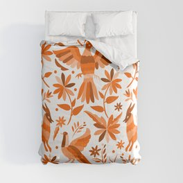 Mexican Otomí Design in Orange Color Comforters
