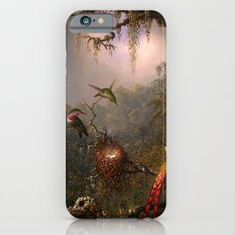 CATTLEYA ORCHID AND THREE BRAZILIAN HUMMINGBIRDS - MARTIN JOHNSON HEADE iPhone Case