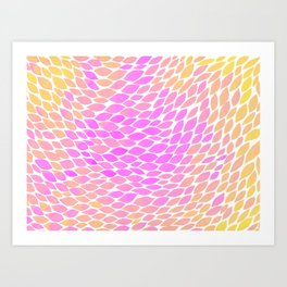 Ombre leaves - pink and yellow Art Print