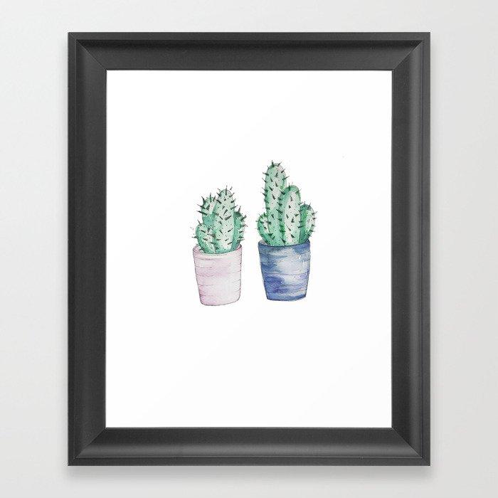 Cacti watercolor illustration Framed Art Print