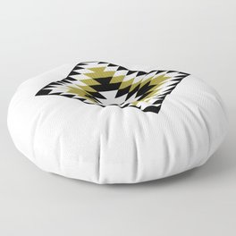 Aztec Diamond Symbol Gold Black White Floor Pillow