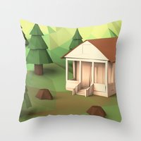 cabin Throw Pillows featuring Cabin by CharismArt